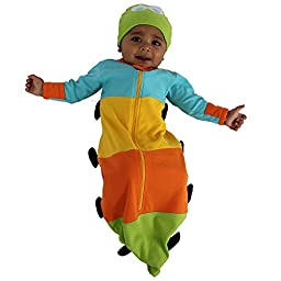Sozo Unisex-Baby Newborn Caterpillar Bunting and Cap Set, Blue/Yellow/Orange/Green, 0-6 Months