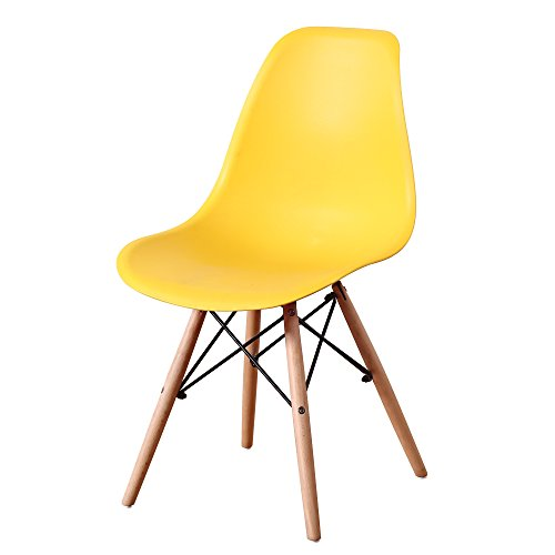(Italian Concept Set, Chair Legs in Black Lacquered Wood Metal Structure Connector. Polypropylene Seat Backrest, Ochre,)
