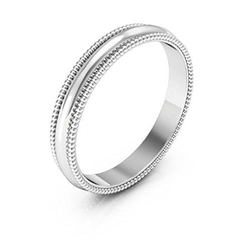 10K White Gold men's and women's plain wedding bands 3mm Milgrain, 10