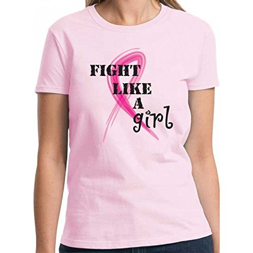 Fight Like a Girl Pink Ribbon Short Sleeve Fitted T-Shirt (Fight Fitted T-shirt)