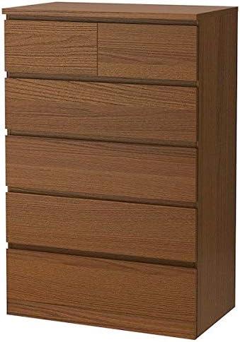 IK IKEA Malm - Cajonera con 6 cajones, Color marrón, Chapa de ...