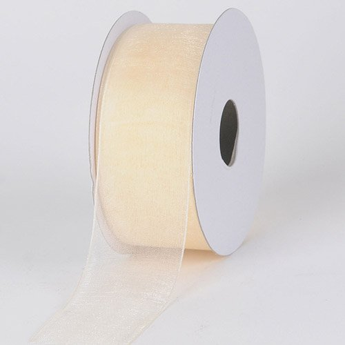 BBCrafts Ivory Sheer Organza Ribbon 1-1/2 inch 25 Yards - Ivory Organza Ribbon