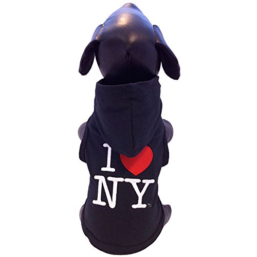 All Star Dogs I Love New York Cotton Lycra Hooded Dog Shirt, Medium