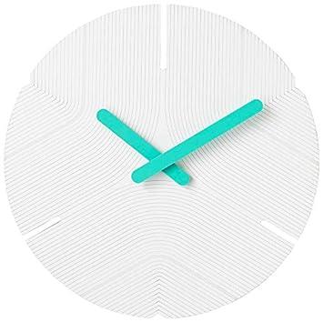 Stephanie Imports Modern Minimalist Hiding White Teal Green Silent Wall Clock