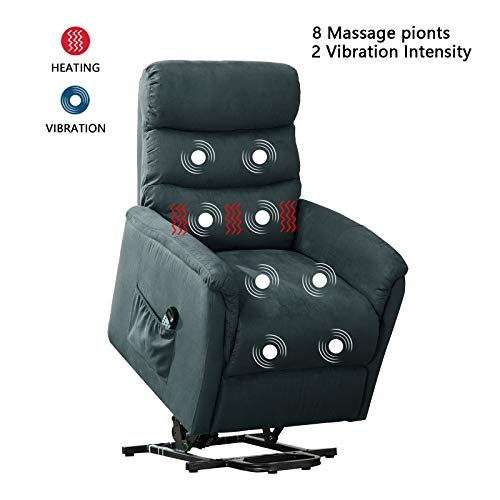 ANJ Power Lift Recliner Chair with Massage,Heat and Vibration - Living Room Chair - Navy Blue