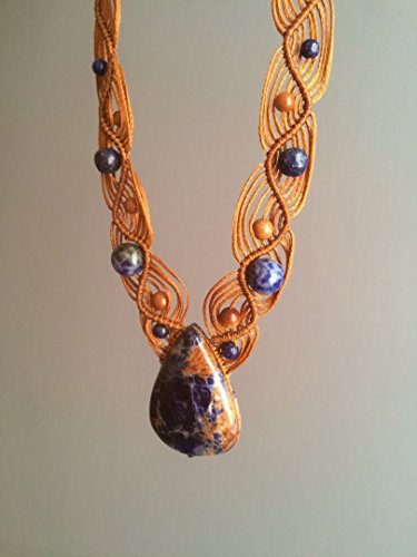 - Sodalite macrame necklace, Teardrop blue Sodalite necklace, Macrame jewelry, natural gemstone, Brown & blue tones, Natural Sodalite necklace