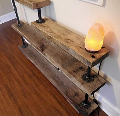 "Custom Made Rustic Recycled Reclaimed Hardwood Bookshelf & Metal Hdwr 52""x36"""