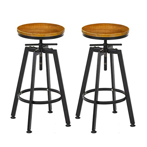 VILAVITA Set of 2 Bar Stools, 26 Inch to 32 Inch Adjustable Height Swivel Counter Height Bar Stool, Retro Finish Industrial Style Wood Barstools