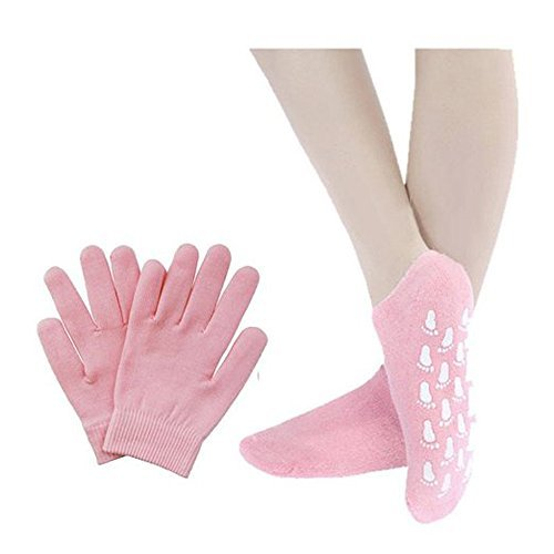 Pinkiou Soft silicon glove Moisturize Soften cracked Skin care Gel SPA Gloves and Socks (gloves&socks, pink)