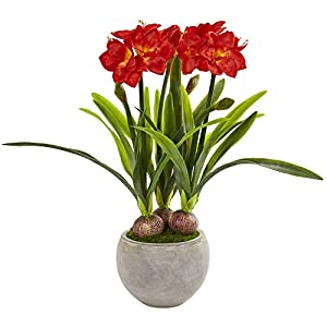 Nearly Natural 8594-RD Amaryllis Artificial Sandstone Bowl Silk Plants Red 75