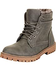 Cambridge Select Women's Knit Sweater Cuff Lace-Up Chunky Lug Platform Block Low Heel Ankle Bootie
