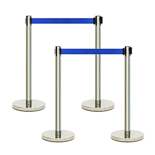 x4 Blue /& Chrome Retractable Crowd Control Barrier Posts Queue Management Safety System 2 Metres of Webbing Per Post