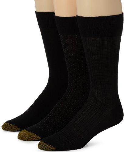 Crew Fashion Patterned Dress Sock, Black, Sock Size: 10-13/Shoe Size:9-11 (Gold Toe Bamboo)