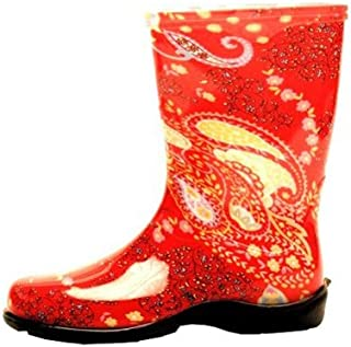 product image for Sloggers 5004RD07 Size 7 Paisley Red Women's Tall Rain & Garden Boot