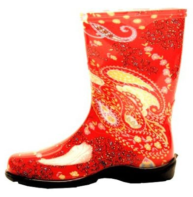 Sloggers Paisley Red Women's Tall Rain & Garden Boot