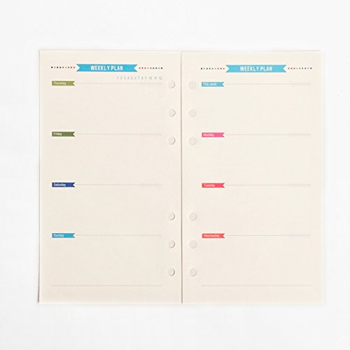 A6 6 Holes Binder File Folder Organizer Paper Refill for Weekly Planner (Weekly Planner, Pack of 5)
