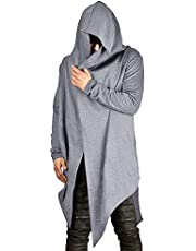 poriff Mens Draped Cardigans Long Sleeve with Hooded Pockets Long Shawl Ruffle