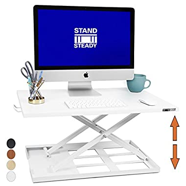 X-Elite Standing Desk - X-Elite Pro Height Adjustable Desk Converter - Size 28in x 20in Instantly Convert any Desk to a Sit / Stand up Desk (White)