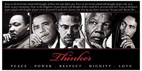 Thinker (Quintet): Peace, Power, Respect, Dignity, Love Art Poster Print, 36x18 King, Obama, Malcom X, Mandela, Marley