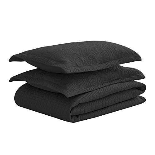 Luxe Bedding 3-piece Oversized Quilted Bedspread Coverlet Set (King/CalKing, Spring / Black)