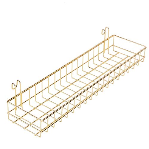 ZYZY Wire Gold Hanging Basket for Wall Grid Panel, Multi-Functional Wall Storage and Display Decoration Basket, Size 15.7 x 3.9 x 2 (Basket-Gold)