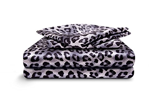 HONEYMOON HOME FASHIONS Full Sheet Set Luxury Silkily Like Satin Bed Sheets, Leopard ()