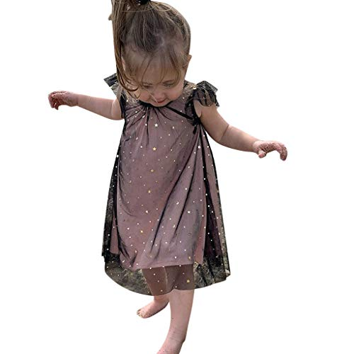 VEFSU Toddler Baby Kids Girl Ruffle Paillette Fly Sleeve Tulle Ruched Princess Dresses Lovely Clothes Black]()