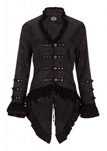 - Black Victorian Brocade Blazer Jacket with Lace Embellishments - Size US 18
