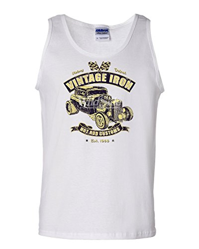 Vintage Iron Hot Rod Customs Tank Top Retro Muscle Car Route 66 Sleeveless White L