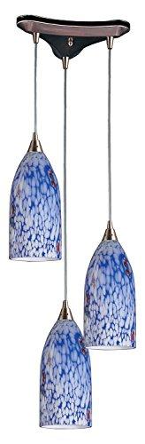 Verona 3 Light Pendant in Satin Nickel and Starburst Blue Glass