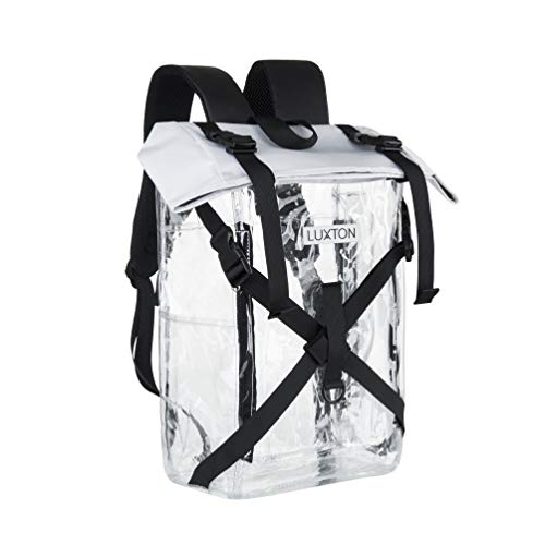 Luxton Home Clear Backpack - Durable Clear Stadium Compatible Bag - With 6 Pockets for Transparent Organization - See Through Backpacks for Concerts, Heavy Duty Bookbags for School Kids