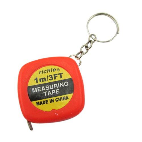 Sonline 2 Pcs Multifunction Red Case 1 Meter 3 Feet Mini Tape Measure w Key Ring (Key Ring Measuring Tape)