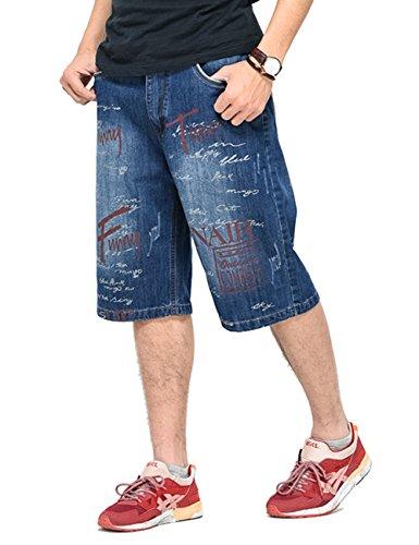 PLAYBIGG Mens Summer Hip-hop Casual Skateboard Denim Shorts Jeans Pants US 33/Tag 34