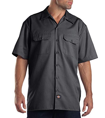 Dickies Men's Short Sleeve Work Shirt, Charcoal, Large