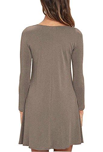 brown Z Casual Unbranded Sleeve Pocket Loose Long Dress T Women's Shirt wvFIqvz