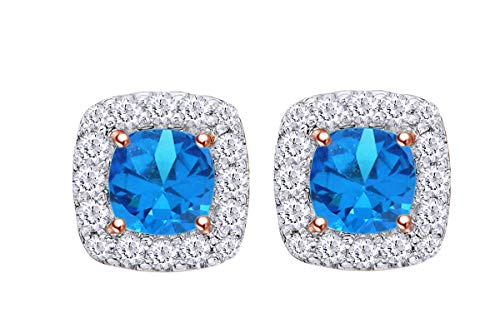 Simulated Blue Topaz & White Cubic Zirconia Frame Stud Earrings In 14k Rose Gold Over Sterling Silver -