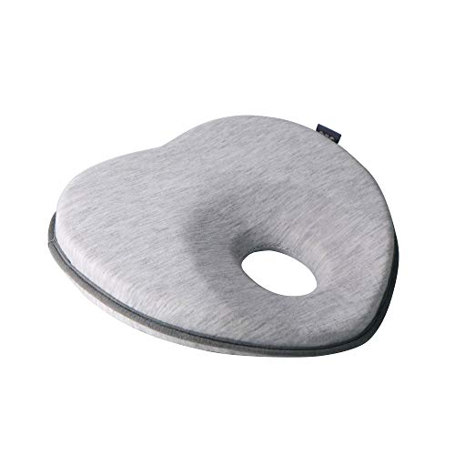 LONOY Newborn Baby Head Shaping Pillow|Baby Pillow for Flat Head Syndrome Prevention|Premium Memory Foam Infant Pillow for Head&Neck Support Pillow| Heart Shaped. (Gray)