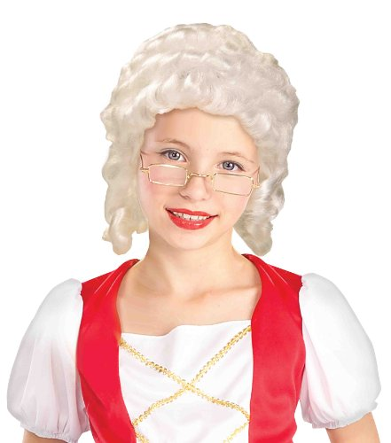 Forum Novelties Mrs. Santa/Colonial Girl Child Wig, White (Colonial Day Costumes)