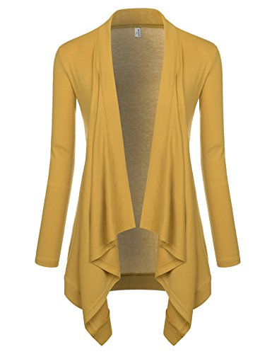 NEARKIN (NKNKWCD692 Womens Lightweight Long Sleeve Open Front Drape Tunic Cardigans Mustard US M(Tag Size L) from NEARKIN