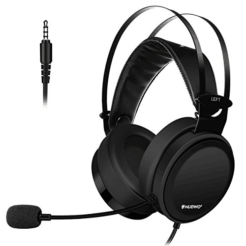 Lightweight PS4 Xbox One Gaming Headset Stereo with Microphone Mute 3.5mm Wired Over Ear Computer Headphones Volume Control Flexible Headband for PC, Laptop, Tablet, Mac, Chat, Video Conference -Black by NUBWO