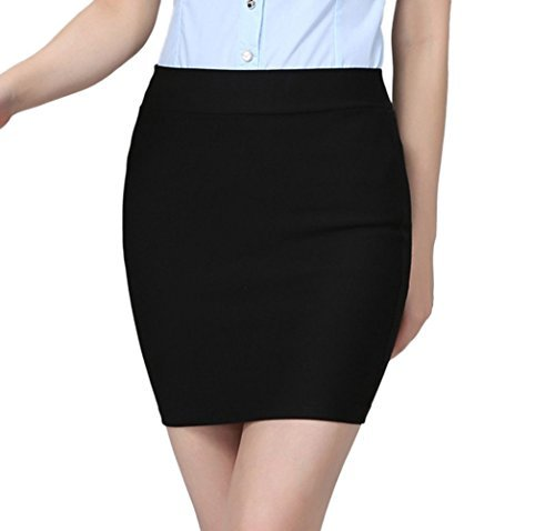 S-7 Women's High waist Package Hip Short Skirt (Large, Black) ()