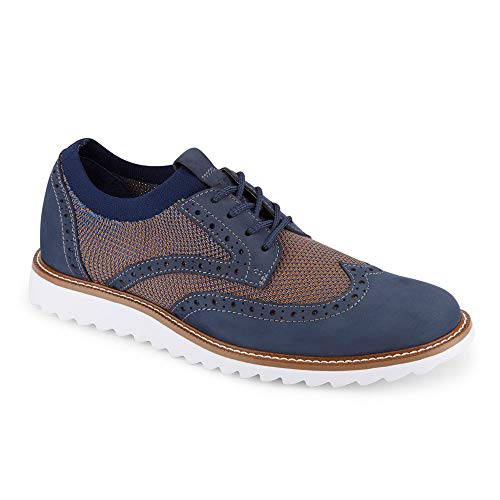 Dockers Mens Hawking Knit/Leather Smart Series Dress Casual Wingtip Oxford Shoe with NeverWet, Navy/Tan, 11 M ()