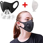 Protection Mask,Premium Activated Carbon Dust Mask, Mesh Extra Filter Mask with Cotton Sheet Valves Washable Reusable Cloth