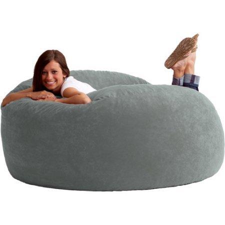 King 5' Fuf Comfort Suede Bean Bag Chair, Multiple Colors Steel Grey
