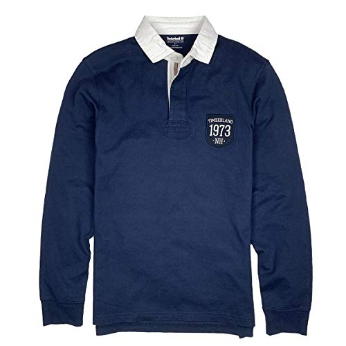 Timberland Men's Long Sleeve Slim FIT Logo Badge Rugby Polo Shirt (Dark Navy, X-Large)