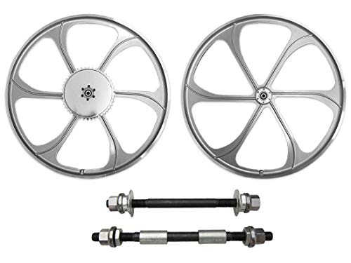 BBR Tuning 26 Inch Heavy Duty Front Mag Wheel for Mountain Bikes, Beach Cruisers, Hybrid Bikes and Motorized Bicycles (Silver) (Front Spoked Rims)