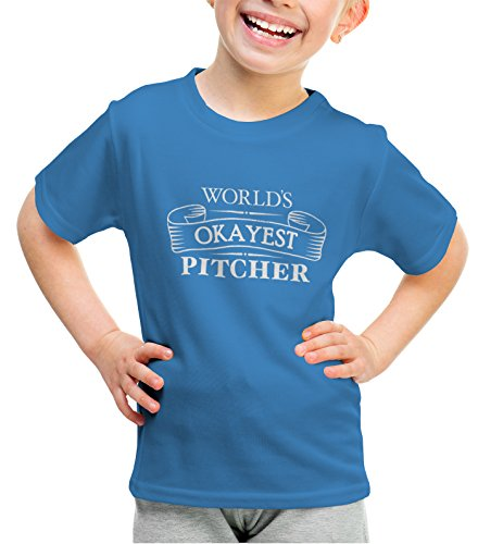 shirtloco Girls Worlds Okayest Pitcher Youth T-Shirt, Iris Large