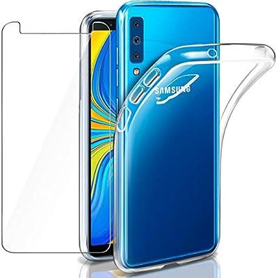 Funda + Cristal para Samsung A7 2018, Leathlux Transparente Galaxy ...