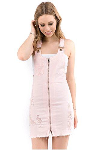 Pink Spring Dress Jeans - TwiinSisters Women's Cute & Sexy Slim Fitted Overall Dress with Comfort Stretch (Pink #rsdo2037, 2X)
