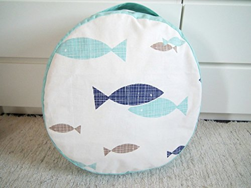 Floor Cushion-Nautical Nursery Decor-Kids Furniture-Canvas Pouf Ottoman-Round Floor Pillow-Teepee Cushion